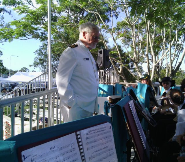 Vic Knowles with Band at Mudgeeraba ANZAC Day Sunset Service (2013)